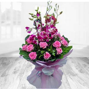 Bunch Of Pink Roses With Orchids: 1st birthday gifts Sikar (rajasthan),  India