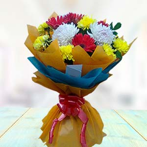 Bouquet Of Gerbera And Carnations: Mothers day flowers and greeting cards Ludhiana,  India