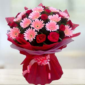 Red Roses and Pink Gerbera: Dussehra  India