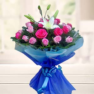 Bouquet Of Mix Roses With Lilliies: Anniversary flowers Dehradun,  India