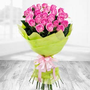 Bunch of 20 Pink Roses  Flowers Celebrations Pack, India
