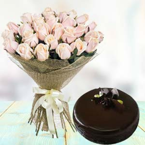 White Roses With Dark Chocolate Cake: Birthday flowers & cake Faizabad,  India