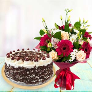 Mix Flowers With Black Forest Cake: Birthday flowers and greeting card Siliguri,  India