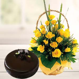 Fresh Yellow Roses With Chocolate Cake: Retirement Guwahati,  India