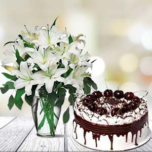 White Lilies With Vanila Cake: Birthday flowers & cake Ujjain,  India