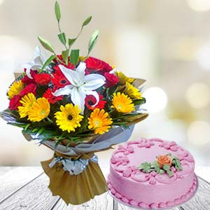 Mix Gerbera With Strawberry Cake: Birthday gift ideas Dhanbad,  India