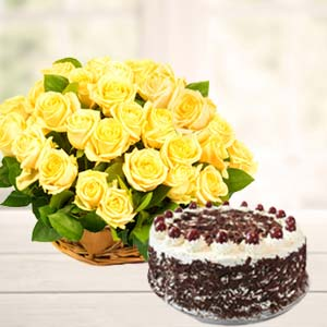 Yellow Roses With Black Forest Cake: Anniversary flowers & cake Visakhapatnam,  India