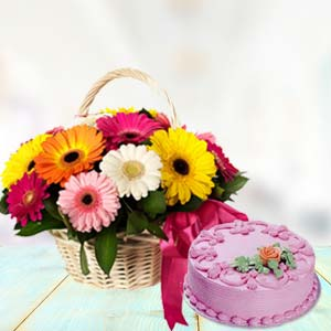Basket Of Gerbera With Strawberry Cake: Unique birthday gifts Gorakhpur,  India