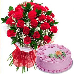 Red Roses With Strawberry Cake: Birthday flowers & cake Junagadh,  India