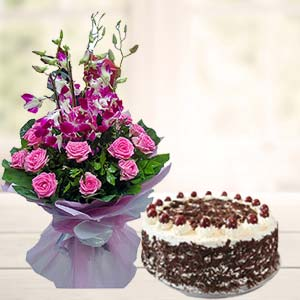 Orchids With Black Forest Cake: Anniversary flowers & cake Allahabad,  India