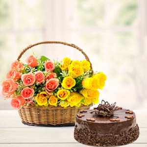Fresh Mix Roses With Chocolate Cake: Good luck Jalandhar,  India