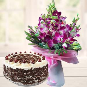 Purple Orchids With Black Forest Cake: Unique mothers day gifts Junagadh,  India