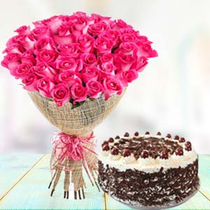 Pink Roses With Black Forest Cake: Unique birthday gifts Rourkela,  India