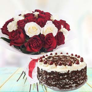 Mix Roses With Black Forest Cake: Unique anniversary gifts Mohali,  India