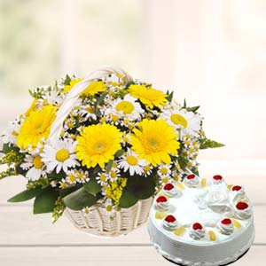 Mix Gerbera Basket With Pineapple Cake: I am sorry Delhi,  India