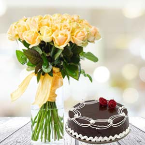 Yellow Roses With Rich Chocolate Cake: Unique birthday gifts Ujjain,  India