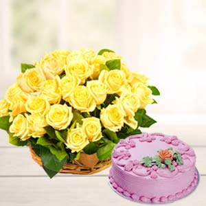 Strawberry Cake With Yellow Roses: Combos Udupi(karnataka),  India