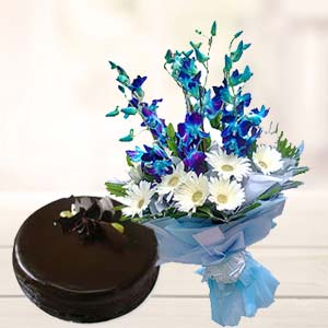 Blue Orchids With Chocolate Cake: Birthday flowers & cake Ambala,  India