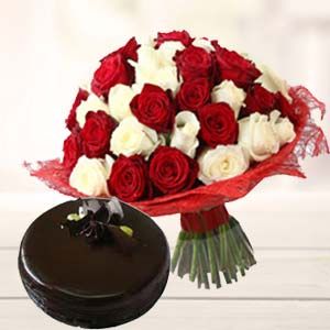 Roses With Dark Chocolate Cake: Birthday flowers & cake Ambala,  India