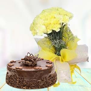 Yellow Carnations With Chocolate Cake: 1st birthday gifts Khanna,  India