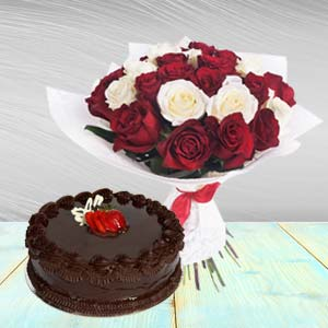 Roses Arrangement With Chocolate Cake: Birthday flowers & cake Manesar,  India