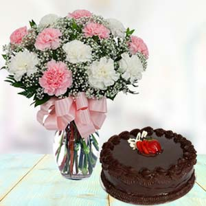 Mix Carnations With Chocolate Cake: Gifts For Him Jabalpur,  India
