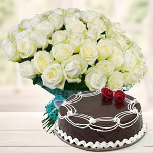 White Roses With Rich Chocolate Cake: Gifts For Sister Jhansi,  India