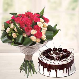 Roses Bunch With Vanila Cake: 1st birthday gifts Dehradun,  India