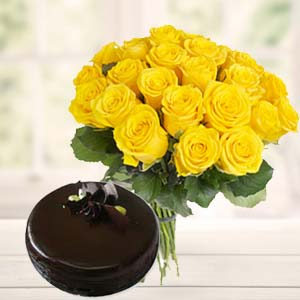 Yellow Roses With Dark Chocolate Cake: Gifts For Her Trivandrum,  India