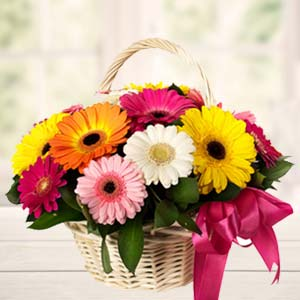 Handle Basket Of Mix Gerbera: Gifts For Girlfriend Kochi,  India