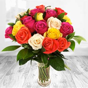 Roses In Glass Vase: Gifts For Sister Balasore,  India