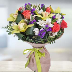 Mix Flowers With Green Fillers: Gift For Friends Vijayawada,  India