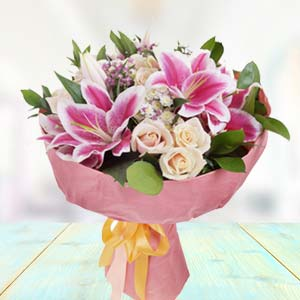 Bunch Of Lilies With White Roses: Gift For Friends Vijayawada,  India