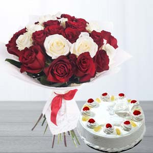 Roses With Pineapple Cake: Karwa Chauth Gifts Bhatinda,  India