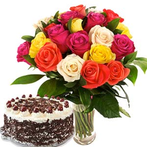 Roses With Black Forest Cake: Anniversary flowers & cake Latur,  India