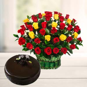 Roses With Dark Chocolate Cake: Gifts For Husband Vizag,  India