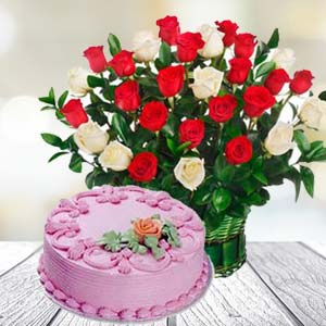 Roses With Strawberry Cake: Birthday flowers & cake Thiruvananthapuram,  India
