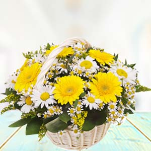 Basket Of Yellow Gerbera: Gifts For Girlfriend Ludhiana,  India