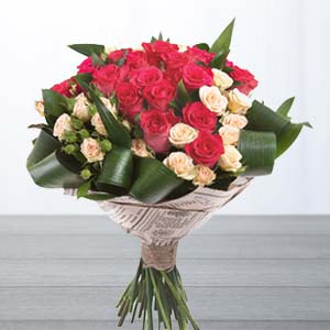 Roses With Green Fillers: Gifts For Sister Imphal,  India