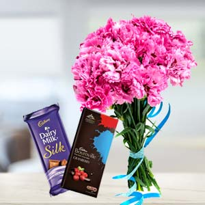 Carnations With Chocolates: Gifts For Sister Gandhidham,  India