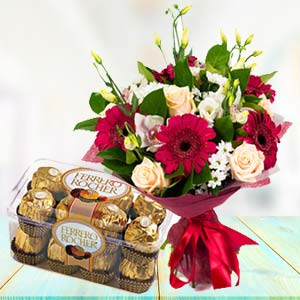 Mix Flowers With Ferrero Rocher Pack: Anniversary flowers & chocolates Ambala Cantt,  India