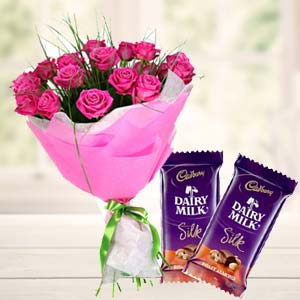Pink Roses With Dairy Silk Chocolates: Karwa Chauth Gifts Agra,  India