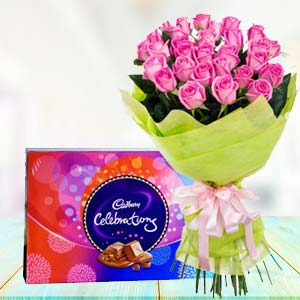 Pink Roses With Celebration Pack: Mothers day flowers chocolates Raipur,  India