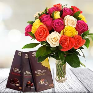 Mix Roses With Chocolates: Gifts For Him Mangalore,  India
