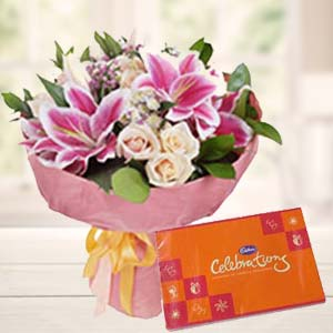Lilies With Celebration Pack: Gifts For Sister Visakhapatnam,  India