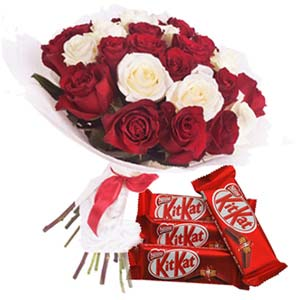 Roses With KitKat Chocolates: Anniversary flowers & chocolates Bhopal,  India