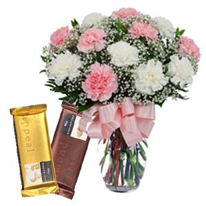 Mix Carnations With Chocolates: Mothers day flowers chocolates Jabalpur,  India