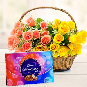 Roses Basket With Celebration Pack: Gifts For Sister Jhansi,  India