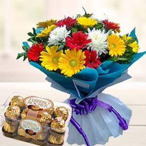 Mix Gerbera With Ferrero Rocher: Mothers day Chennai,  India