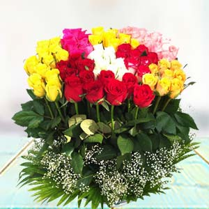 70 Mixed Roses: Congratulations Solapur,  India